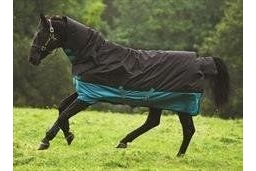 Horseware Mio All in One Medium Turnout 200g -Black/Turquoise & Black 6'0