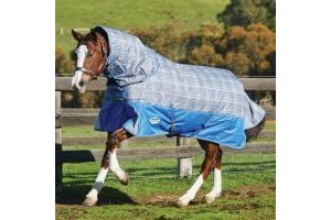 WeatherBeeta ComFiTec Premier Free 220g Medium Weight Detach-A-Neck Turnout Rug Grey Plaid