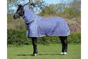 WeatherBeeta Ripshield Plus Combo Neck Fly Rug in Blue/Pink: 4ft6