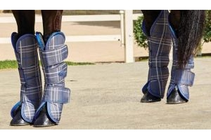 Weatherbeeta Wide Tab Long Travel Boots Grey Plaid: Cob