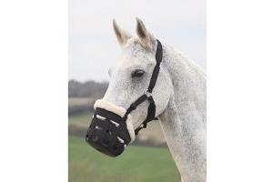 Shires Equestrian Deluxe Nylon Grazing Muzzle, Cob, Black
