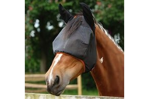 equilibrium - Field Relief Midi Fly Mask With Ears Black/Orange x Size Medium