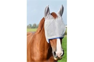 equilibrium Field Relief Midi Fly Mask With Ears Grey Blue - Easy Stretch UV Sun Protection and SPF Properties