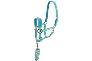 HV Polo Favouritas Headcollar & Leadrope Blue Turquoise