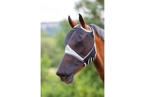 Shires Fine Mesh Fly Mask with Ear Holes & Nose-Black Full