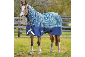 WeatherBeeta ComFiTec Plus Dynamic 220g Medium Weight Combo Neck Turnout Rug Navy/Lime Plaid