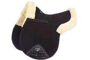 LeMieux Lambskin GP/Jumping Half Lined Numnah - Natural Wool/Black Fabric, Large