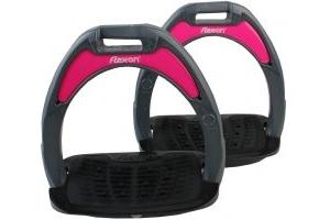 Flex-On Junior Composite Inclined Grip Stirrups Dark Grey/Black/Pink
