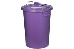 Trilanco Unisex's Prostable Dustbin with Locking Lid 85 Liter, Purple, Regular