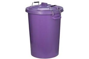Trilanco Unisex's Prostable Dustbin with Locking Lid 85 Liter, Purple, Regular