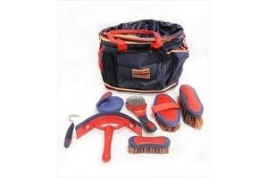 Rambo Horseware Newmarket Grooming Kit-Whitney Stripe Chocolate N/A