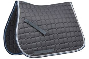 Saxon Co-ordinate Quilted All Purpose Saddle Pad Grey/Blue/White