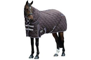Weatherbeeta Comfitec 1000D Diamond Quilt Detach-A-Neck Heavy Charcoal Blue White - 210T polyester lining