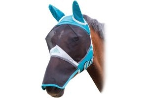 Shires Fine Mesh Fly Mask With Ears and Nose Teal