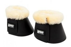 WEATHERBEETA ROMA MERINO SHEEPSKIN TRIM VELCRO STYLE OVER REACH BELL BOOTS (White, Large)