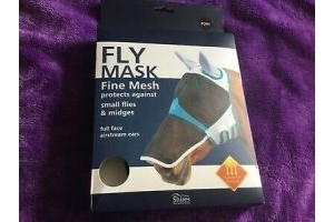 SHIRES FINE MESH FLY MASK WITH EAR & NOSE EXTENSION - BLACK/ORANGE - NEW IN BOX