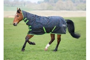 Bridleway Ontario Lightweight Combo Turnout Rug: Horseshoe Print: 6 ft 6