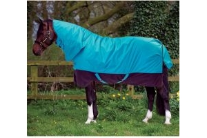 Horseware Mio All-In-One 100g Lightweight Combo Neck Turnout Rug Turquoise/Black