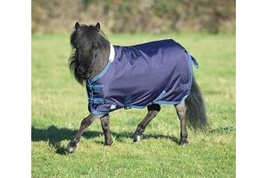 Shires Miniature Highlander Turnout Rug (Miniature Horse Rug)-Navy/Turquoise 39
