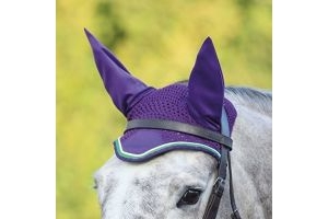 DELUXE FLY VEIL Striking Fits Under Bridle Smart Colours Breathable Strap Free [BRIGHT BLUE/PINK] [COB/FULL] by Shires