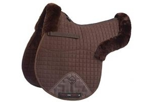 LeMieux Lambskin GP/Jumping Half Lined Numnah - Dark Brown Wool/Brown Fabric, Large