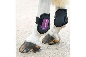 Shires Arma Fetlock Boots - Black/Plum: Pony/Cob