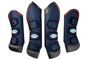 Weatherbeeta Deluxe Pony/Horse Travel Boots - Navy/Red/White: Full