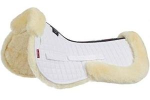 LeMieux Lambskin Half Pad - Natural Wool/White Fabric, Medium