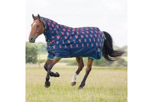 Bridleway Ontario Medium Weight Combo Turnout Rug Navy with Red Apple: 5 ft