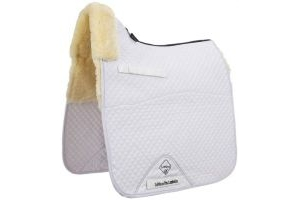 LeMieux ProLambskin Half Lined Dressage Square Saddle Pad Natural/White