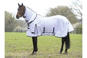Weatherbeeta Comfitec Essential Mesh Combo Neck Fly Rug White Purple - Lightweight Waterproof Sprayproof
