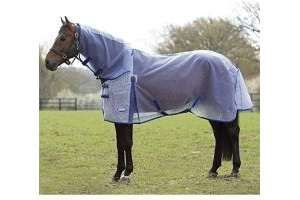 Weatherbeeta ComFiTec Ripshield Plus Combo Fly Rug 4ft White and Blue