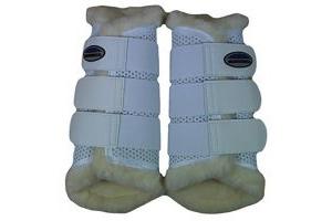 Weatherbeeta Sheepskin Exercise Boots - White: Warmblood