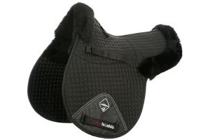LeMieux Lambskin Pro-Sorb System GP Numnah (Half Lined) - Black Wool/Black Fabric, Large