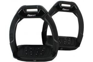 Flex-On Adults Safe-On Inclined Ultra Grip Stirrups Black/Grey