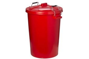 Trilanco Unisex's Prostable Dustbin with Locking Lid 85 Liter, Red, Regular