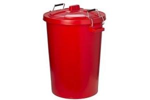 Trilanco Unisex's Prostable Dustbin with Locking Lid 85 Liter, Red, Regular