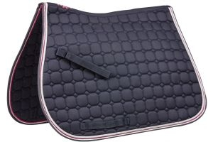 Saxon Co-ordinate Quilted All Purpose Saddle Pad Navy/Pink/White