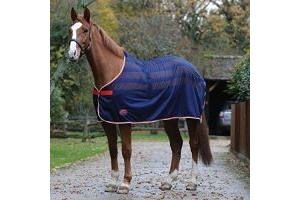 Weatherbeeta Scrim Pony/Horse Cooler Standard - Navy/Red/White: 4ft9