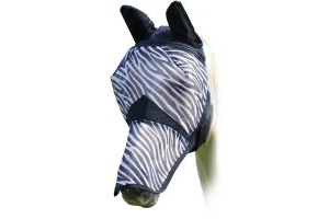 Shires Fine Mesh Fly Mask with Ears and Nose Extention Zebra
