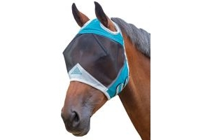 Shires Fine Mesh Fly Mask with Ear Holes Teal