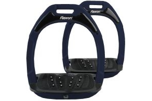 Flex-On Adults Green Composite Inclined Extra Grip Stirrup Blue/Black/Blue
