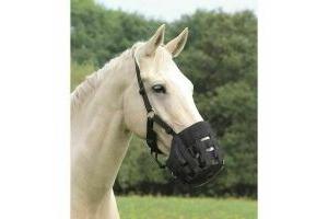 SHIRES EQUESTRIAN GRAZING MUZZLE - FULL SIZE - HORSE - BLACK COMFORT   T