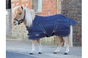 Shires Tempest Mini 200 Stable Rug - Navy/Turquoise: 3ft3