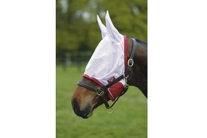 Saxon Fly Mask White/Cerise Pony