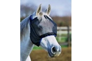 equilibrium Field Relief Midi Fly Mask without Ears-Black/Blue Trim Extra Large