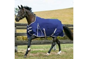 WeatherBeeta ComFiTec Essential 0g Lite Weight Standard Neck Turnout Rug Navy/Silver/Red
