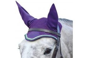 Shires Deluxe Fly Veil Purple/Lime Green