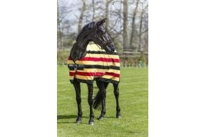 Rambo Horseware Deluxe Fleece Rug -Black with Tan, Orange & Black 6'6''