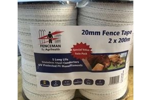 Fenceman Electric Fence White Tape 20mm x 200m Twin Pack